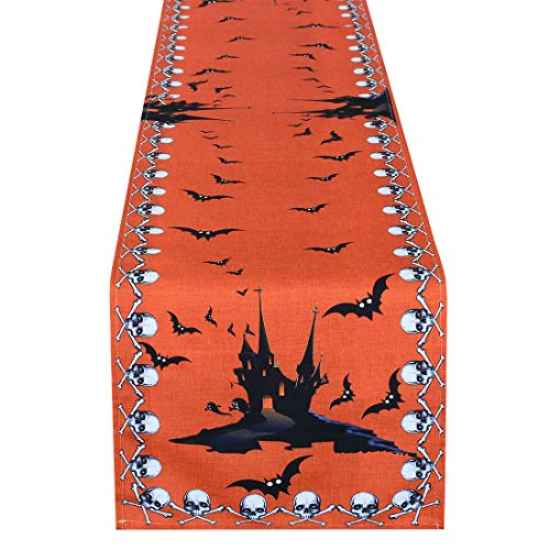 Simhomsen Halloween Table Runner for Dinner Party and Scary Movie Nights, Featured Printed Spooky Skull, Bats and Haunted House (16 × 108 inch) -
