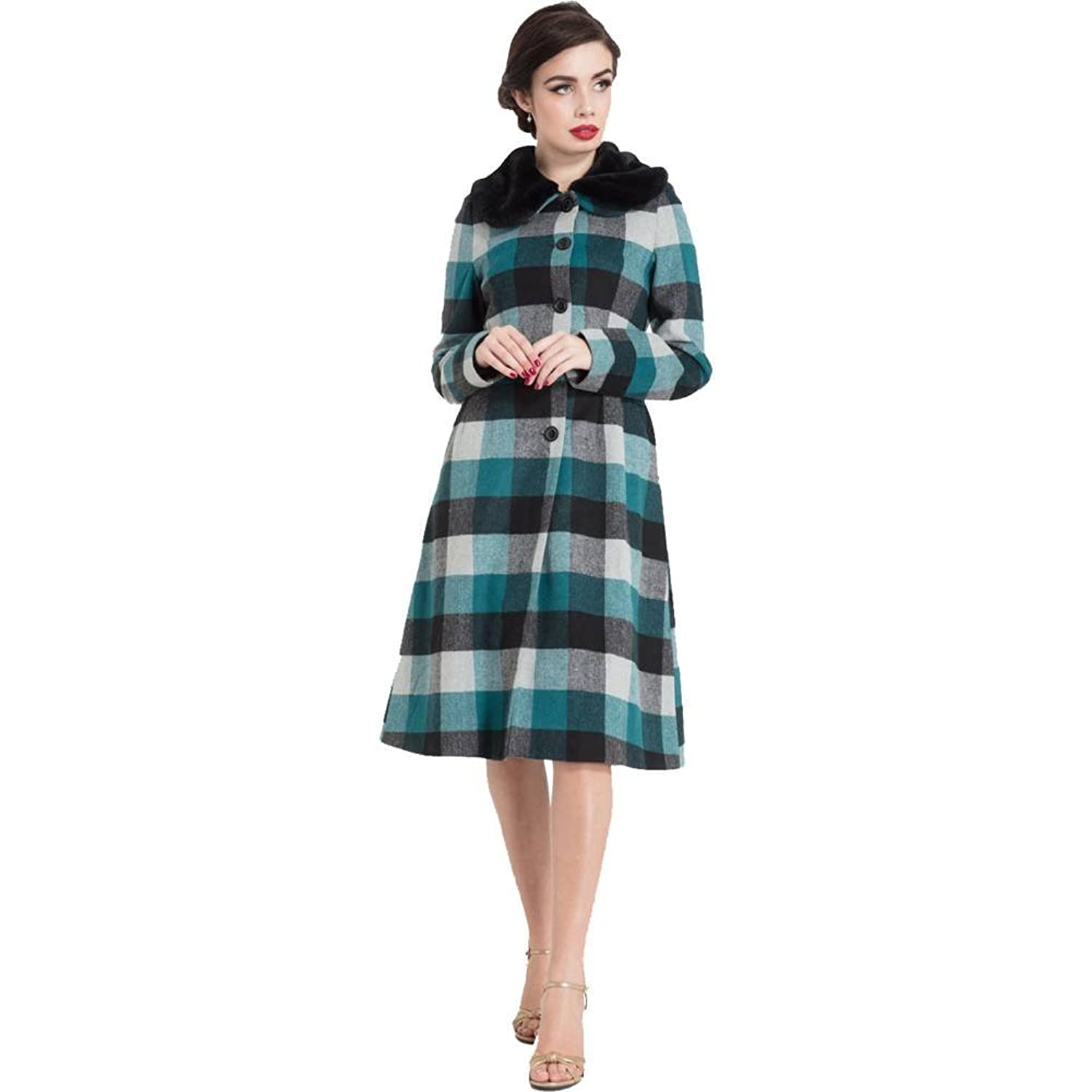 Vintage Coats & Jackets | Retro Coats and Jackets Voodoo Vixen Womens Beatrice Woolly Check Coat Blue $118.99 AT vintagedancer.com