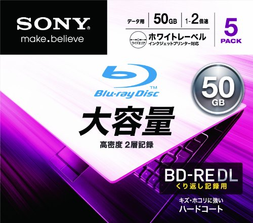 Sony Blu-ray Rewritable Disc for PC Data | BD-RE 50GB DL 2x Ink-jet Printable 5 Pack | 5BNE2DCPS2 (Japanese Import) by Sony
