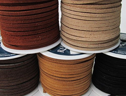 (Lace Lacing Leather Suede Earthtone Assortment Craft Kit; 10 Yards (5 Colors, 2 Yards of Each))