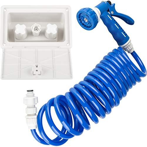 Dura Faucet DF-SA189-WT RV Exterior Quick Connect Sprayer, Hose, and Exterior Spray Box Kit (White)