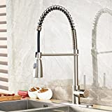Rozin Deck Mount Single Hole Two-model Pull Down Sprayer Kitchen Sink Faucet Spring One Handle Mixer Tap with Cover Plate Brushed Nickel