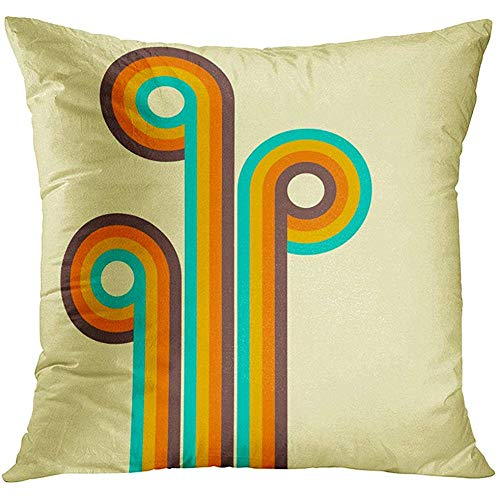 70s Style Decor (Throw Pillow Cover Colorful Artistic Abstract Retro Digital Lines and Circles Design 70S Blank Bright Decorative Pillow Case Home Decor Square 18x18 Inches)