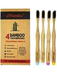 allBambu   Premium Natural Bamboo Toothbrush   Soft Binchotan Charcoal Bristles   Ergonomic Handle   4 Pack