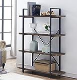 O&K Furniture 4-Shelf Open Bookcase, Vintage Industrial Style Bookshelves, Brown