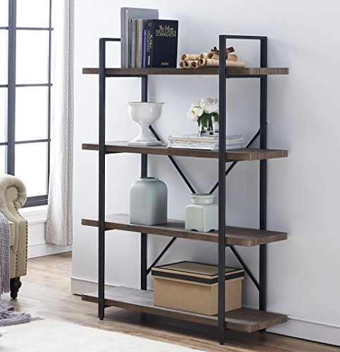 O&K Furniture 4-Shelf Open Bookcase, Vintage Industrial Style Bookshelves, Gray- Brown