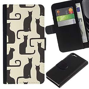 KingStore / Leather Etui en cuir / Apple Iphone 6 / Arte Beige Negro Amarillo Gatito Patrón