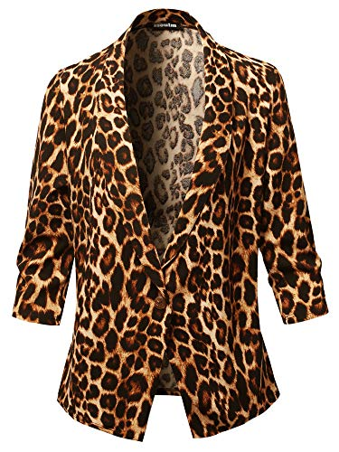 3 Button Coat - SSOULM Women's Loose Fit Work Office One Button Blazer Jacket CAMELLEOPARD 3X