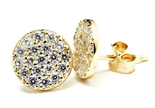apop nyc Goldtone Sterling Silver Micro Pave CZ Stone Coin Earrings [Jewelry] (goldtone-silver)