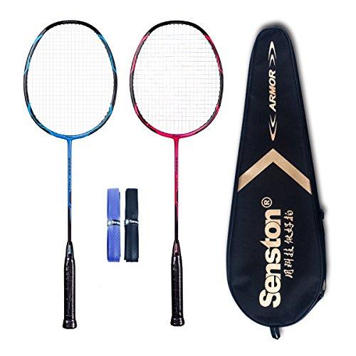 Cheap Senston – High Grade 2 Player Graphite Badminton Racket Set – Including 1 Badminton Bag/2 Rackets/2 Grip(red+blue)