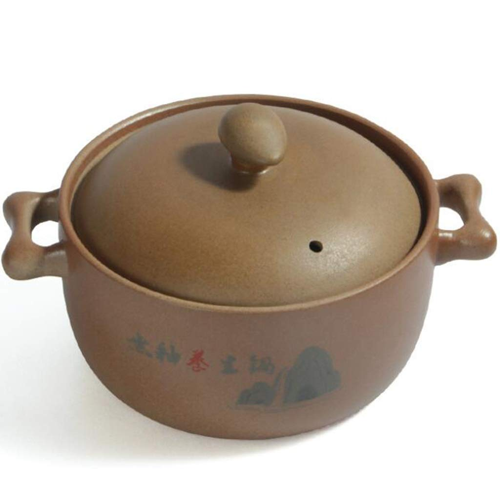 Unglazed Potato Sauce Soup Open Soup Stew Pot Ceramic Gas Ceramic Pot Clay Stove Ceramic Stove (Size : 3.6L) by SKXX