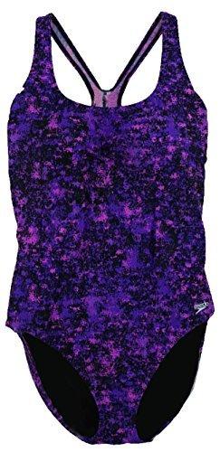 Speedo Womens Ultraback One Piece Swimsuit Animal Print Purple Size 8