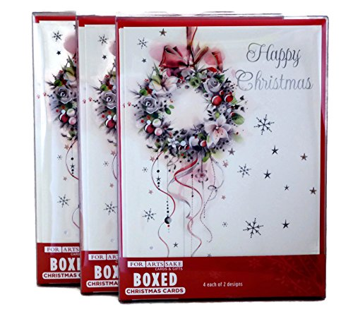 Beautiful Holiday Wreath - Merry Christmas Holiday Greeting Cards, Beautiful Wreath and Stockings Designs, 24 Cards/Envelopes