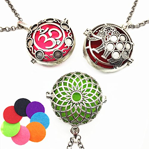 24' Daisy (Mixed 3pcs Aromatherapy Essential Oil Diffuser Vintage Silver Elephant Daisy Yoga Bohemia Style Locket Pendant Necklace Come with 24'' Chains and Multi-color Pads)