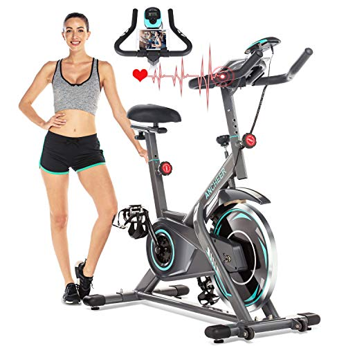 ANCHEER Exercise Bike, Indoor Cycling Bike Stationary with Heart Rate Monitor, Silent Belt Drive Bike with LCD Monitor & Comfortable Seat Cushion, Multi - Grips Handlebar Ancheer