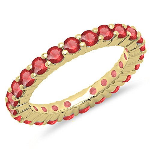 - Dazzlingrock Collection 1.00 Carat (ctw) 14K Round Ruby Eternity Wedding Anniversary Stackable Ring Band, Yellow Gold, Size 7