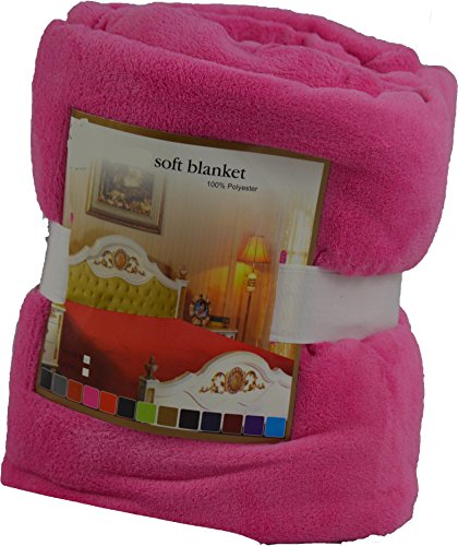Mk Collection Micro Fleece Plush Solid Blanket Solid Colors (50x60, Hot pink)