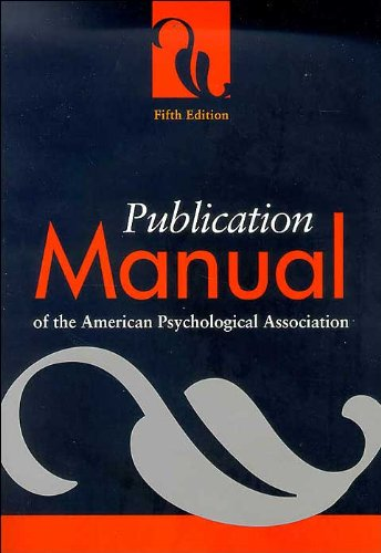 Publication Manual (text only) 5th (Fifth) edition by American Psychological Association