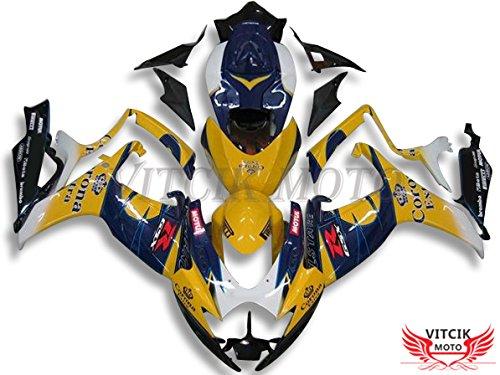 VITCIK (フェアリングキット 対応車種 スズキ Suzuki GSX-R750 GSX-R600 K6 2006 2007 GSXR 600 750 K6 06 07) プラスチックABS射出成型 完全なオートバイ車体 アフターマーケット車体フレーム 外装パーツセット(イエロー & ブルー) A122   B076M5P69D