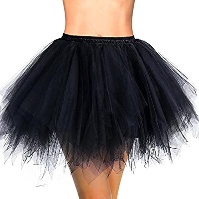 HUALIL Women's Short Ballet Bubble Puffy Vintage 80's Tutu Petticoat Skirt Party Dance