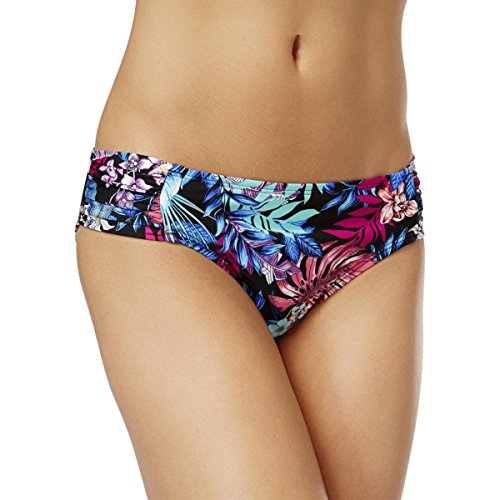 Kenneth Cole New York Women's Side Shirred Hipster Bikini Swimsuit Bottom, Black // Tropical Tendencies, Medium