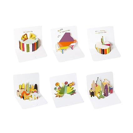 Zhi Jin Lot De 12 Cartes Danniversaire 3d Coloré Pop Up