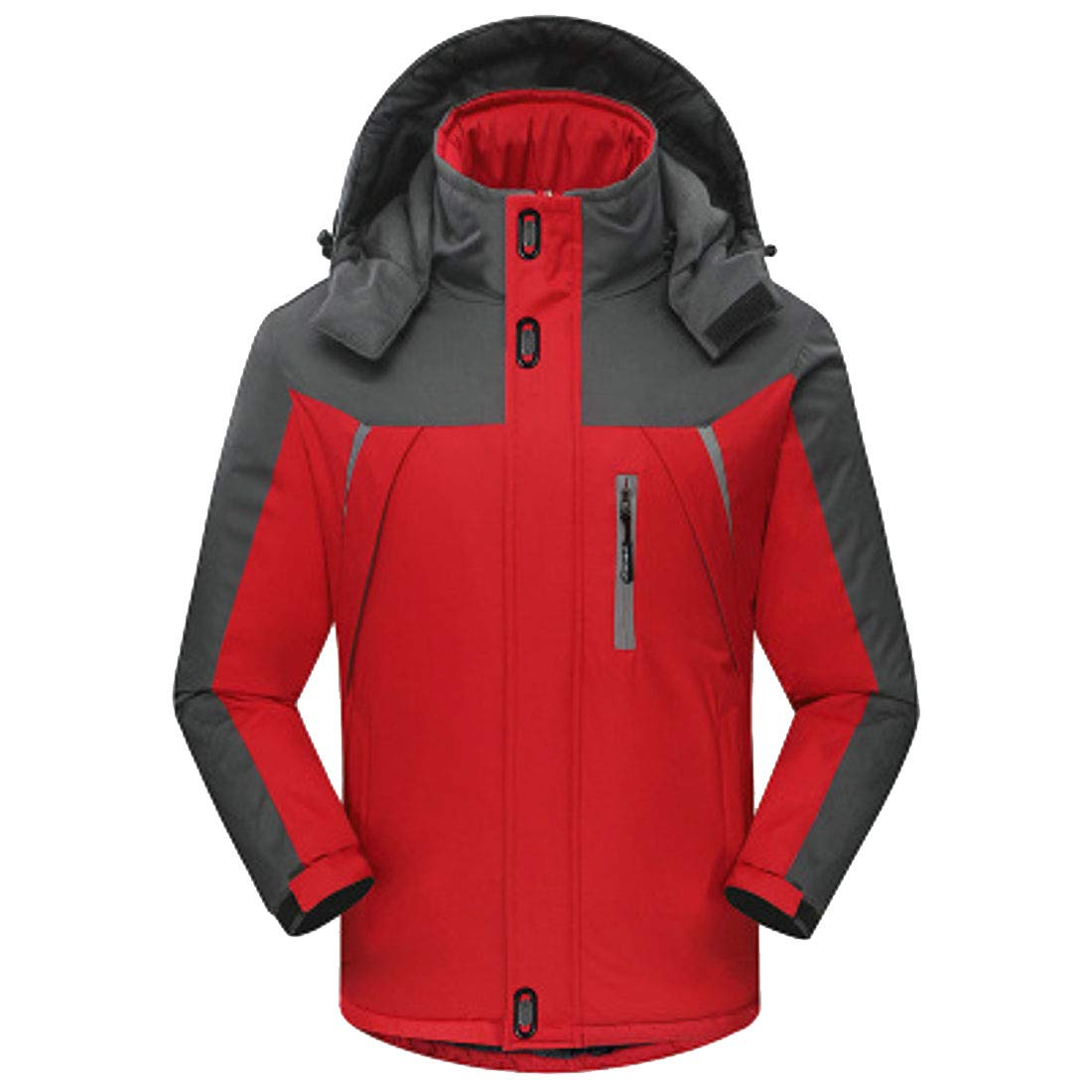 BOBOYU Mens Pizex Outdoor Plus Size Hooded Fleece Quilted Jacket Coat Outerwear