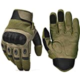 REEBOW TACTICAL Army Military Hard Knuckle Tactical Combat Full Finger Gloves, Medium, Army Green