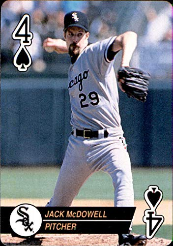 (JACK MCDOWELL CHICAGO WHITE SOX 1994 U.S. Playing Cards Baseball Aces Four 4 of Spades )