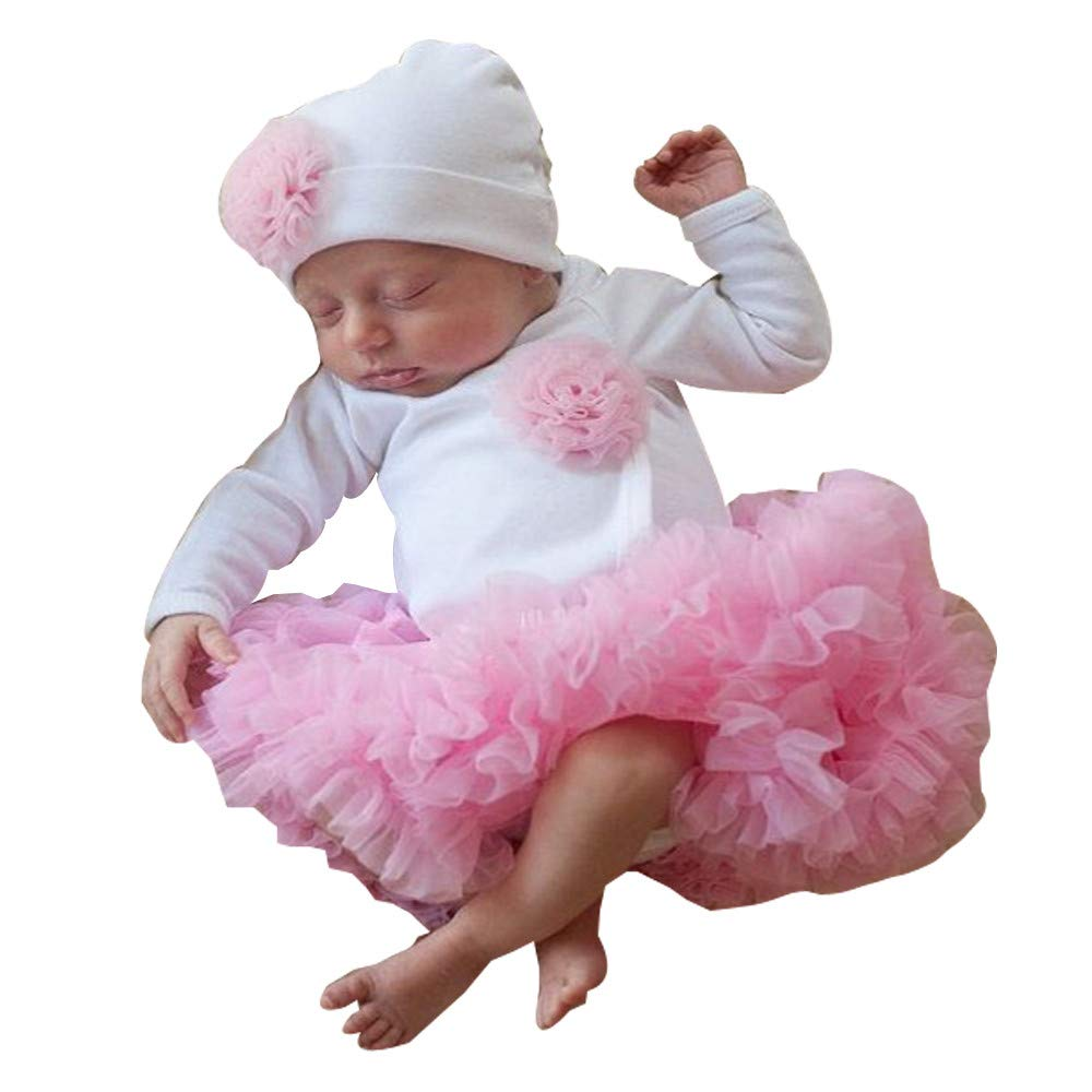Baby Clothes Set Clearance, Girls Flower Romper Tops Tutu Dress + Cap Toddler Infant Mesh Bodysuits Hat for 0-2 Years Old Kids Outfits JUH-852