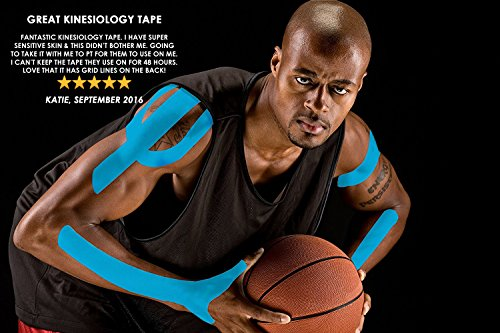 Physix Gear Sport 6 Pack Kinesiology Tape - Free Illustrated E-Guide - 16ft Uncut Roll - Best Pain Relief Adhesive for Muscles, Shin Splints Knee & Shoulder - 24/7 Waterproof Therapeutic Aid (Blue) by Physix Gear Sport (Image #3)