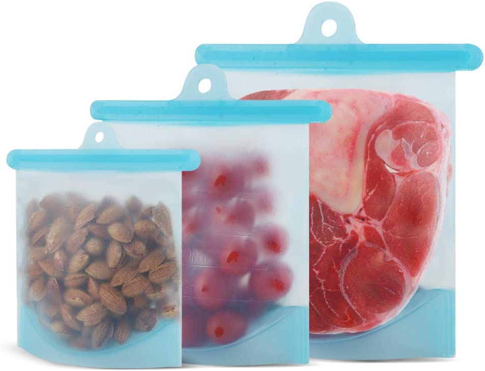Reusable Silicone Food Storage Bags(3 Pack) for Vegetable,Liquid,Snack,Meat,Lunch,Fruit,Hiking,Camping,Blue