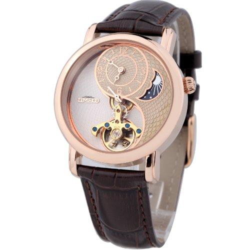 Time100 Tai Chi Armbanduhr Mondphasen mechanische automatikuhr recht Leder rosegold W60012M.02A