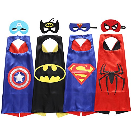 [Sepco Boys Superhero Dress Up Costumes-4 Satin Capes and Felt Masks] (Super Easy Halloween Costumes For Kids)