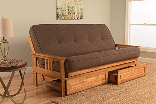 Kodiak Furniture KFMODBTLCOCLF5MD4 Monterey Futon Set with Butternut Finish and Storage Drawers, Full, Linen -