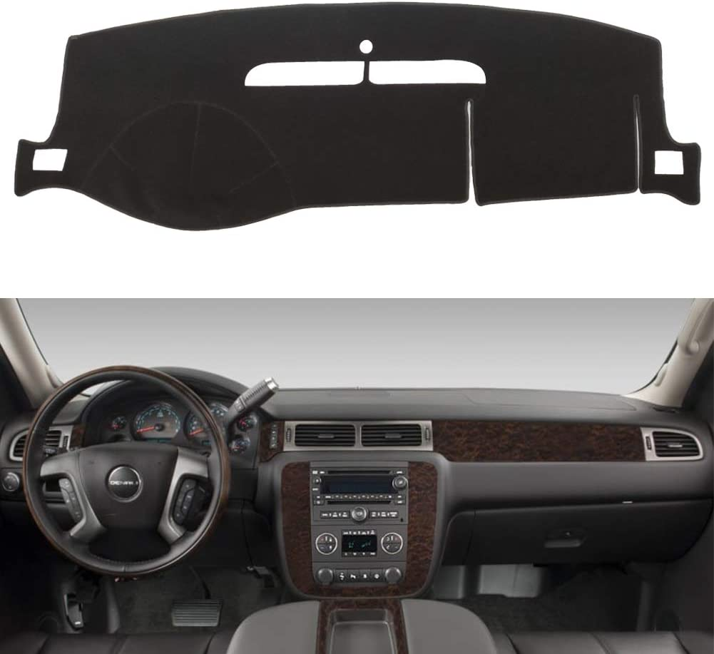 HanLanKa Dashboard Cover for Chevy Chevrolet Suburban/Tahoe 2007-2014,Chevrolet Avalanche Silverado 1500 LTZ 2007-2013,GMC Yukon 2007-2014 Dash Cover Mat(Premium Carpet, Black)
