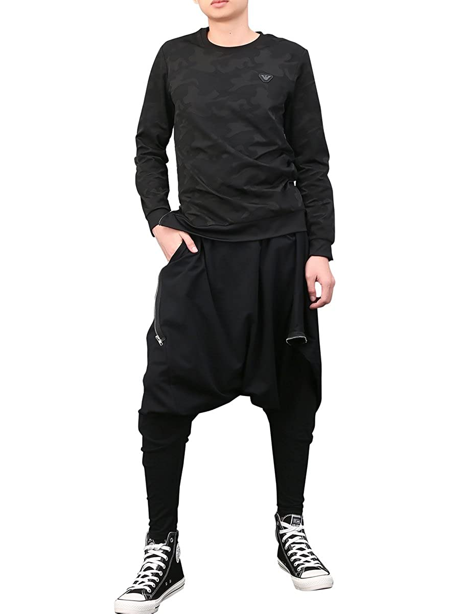 ELLAZHU Men Casual Black Loose Baggy Elastic Waist Harem Pants Onesize GYM22 GC GYM90