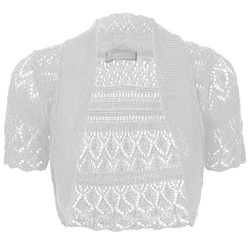 Thever Women Short Sleeve Knitted Crochet Shrug Bolero Cardigan Ladies Crop Top (L(14-16), White)