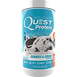 Quest Nutrition Protein Powder, Cookies & Cream, 22g Protein, 80% P/Cals, 0g Sugar, 1g Net Carbs, Low Carb, Gluten Free, Soy Free, 2lb Tub