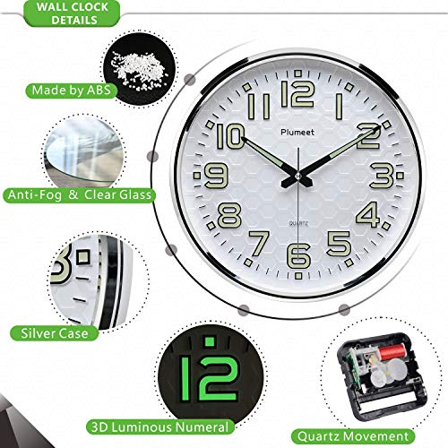 Plumeet Night Light Wall Clocks - 13 Inches Clock with Silent Non-Ticking Glowing Function - Good for Home Kitchen… 5