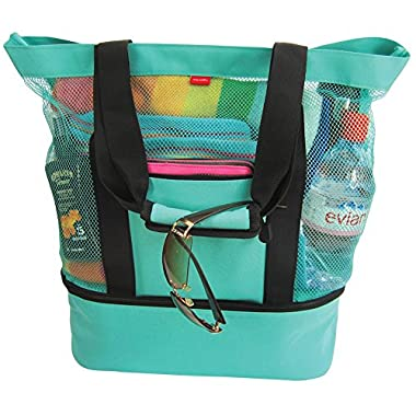 Aruba Mesh Beach Tote Bag with Insulated Picnic Cooler (Turquoise)