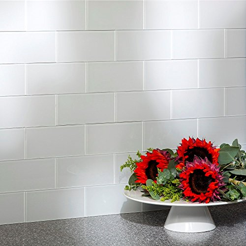 Aspect Peel and Stick Backsplash Kit Glass Tile in Frost for Kitchen and Bathrooms (15 sq ft Kit) by Aspect