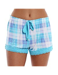 Wallflower Printed Pattern Lounge Short with Crochet Trim