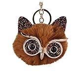 LBgrandspec Cute Owl Fluffy Pompom Ball Pendant Keychain Women Key Ring Gift Coffee