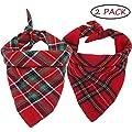 LATFZ 2 Pack Christmas Pet Dog Bandanas Triangle Bibs Scarf, Plaid Printing Kerchief Set for Small Medium Size Dogs