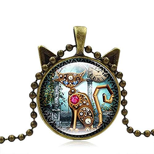 TOPOB 2019 New Retro Steampunk Mechanical Cat Clock Time Gemstone Necklace Bronze Pendant Sweater Chain Jewelry