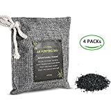 Air Purifying Bag 800g Car Freshener Bags 4 Packs Natural Chemical-Free Bamboo Charcoal Bag Odor Eliminator for Cars Closets Bathrooms Living room Bedroom and Pet Areas (4 x 200g)