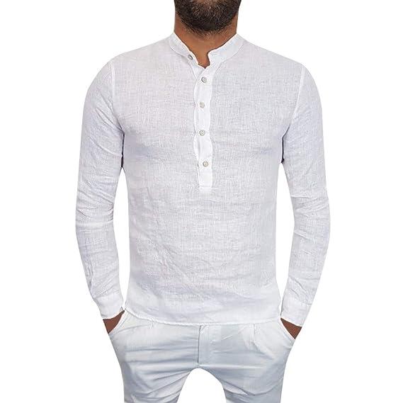 Camisa de algodón Suelta con Cuello en V para Hombre de Verano con Cuello en Pico