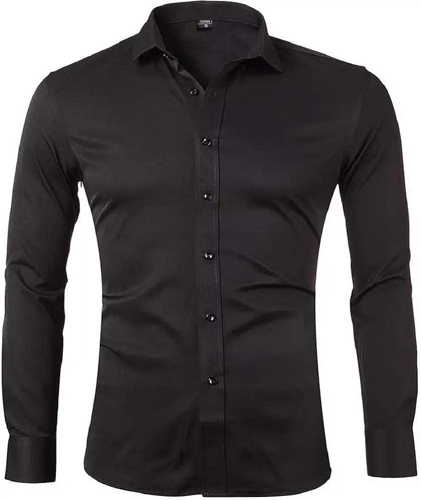 Gdtime Camisas De Vestir De Fibra De Bambú para Hombre Slim Fit Color Sólido Camisas Casuales De Manga Larga Camisas con Botones, Camisas Elásticas Formales para Hombres: Amazon.es: Ropa y accesorios
