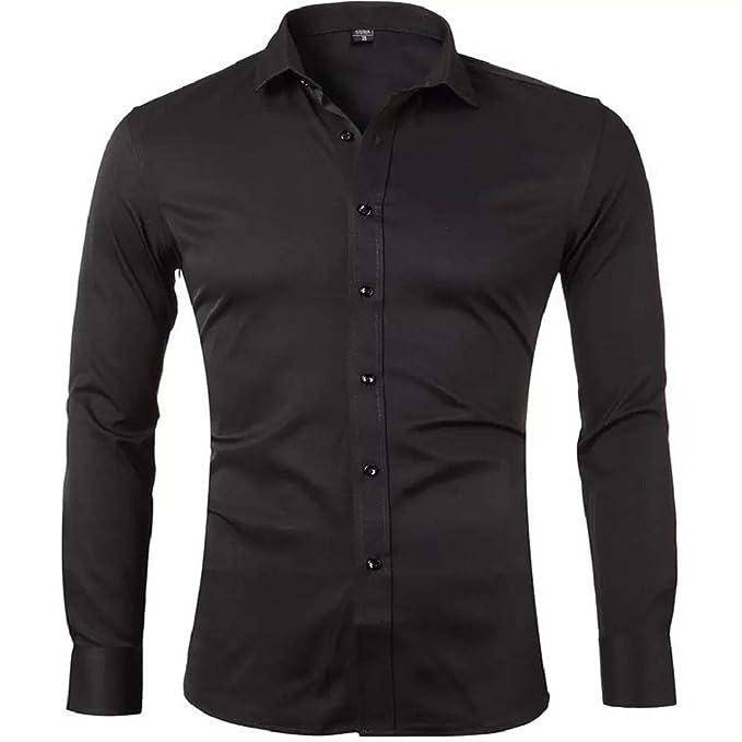 Gdtime Camisas De Vestir De Fibra De Bambú para Hombre Slim Fit Color Sólido Camisas Casuales De Manga Larga Camisas con Botones, Camisas Elásticas ...